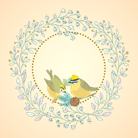 Vintage floral weddind invitation with birds. Vector illuatration