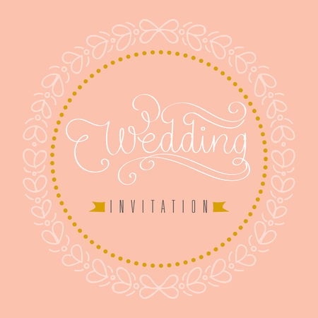 Wedding invitation hand letter with flowers. Illustration