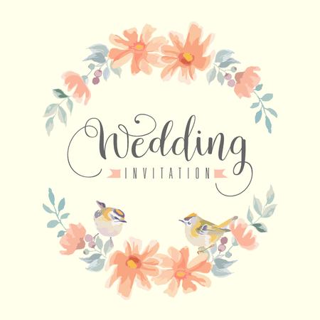 Vintage floral weddind invitation with birds.