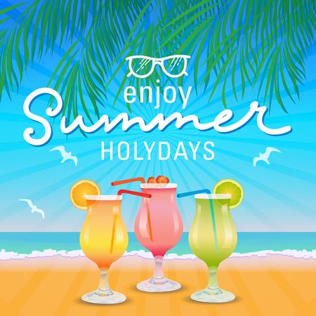 Enjoy summer holidays hand letter background. Vector illustration