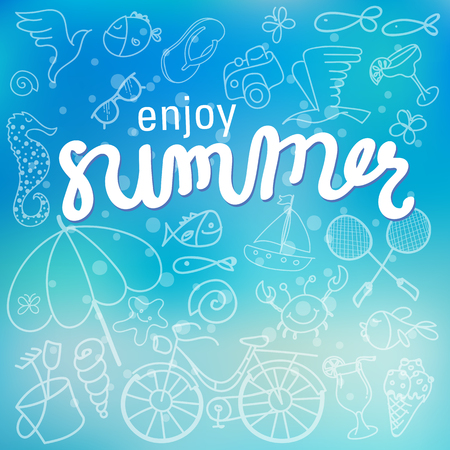 Enjoy summer time background hand letter. Vector illustration