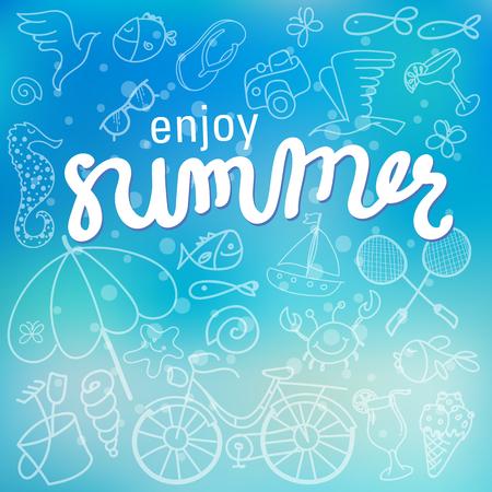 Enjoy summer time background hand letter. Vector illustration