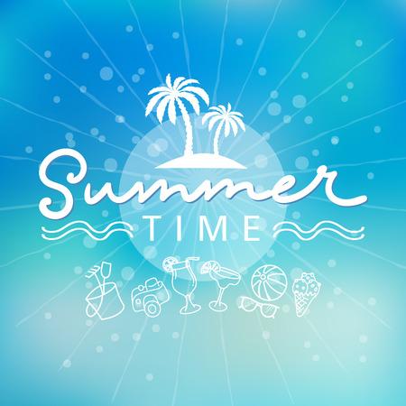 Summer time background hand letter. Vector illustration