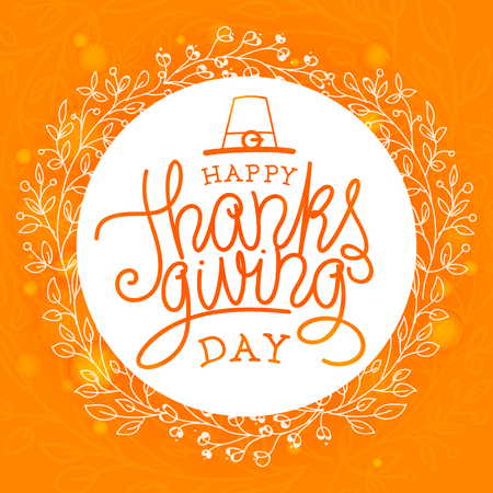 Happy thanksgiving day. Hand lettered vector illustration 向量圖像