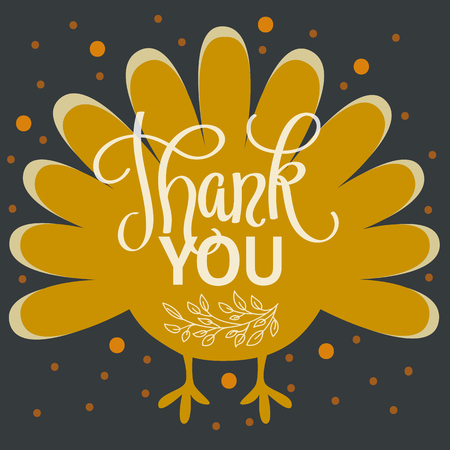 Thank you. Happy thanksgiving day. Hand lettered vector illustration