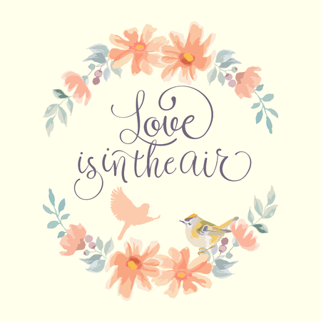Love is in the air wedding invitation. Hand made vector illustration