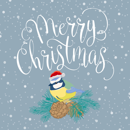 Merry christmas with bird and wreath. Handmade vector illustration 向量圖像