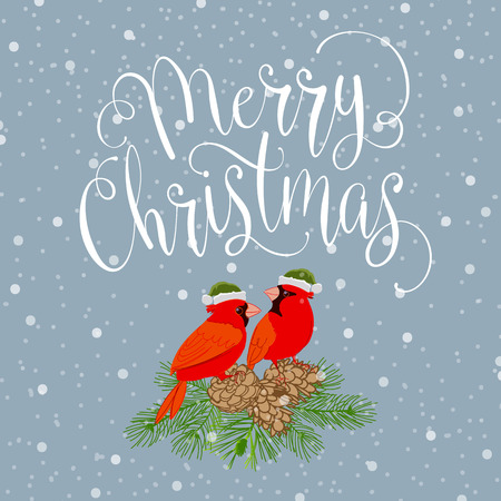 Merry christmas with bird and wreath. Handmade vector illustration Illustration