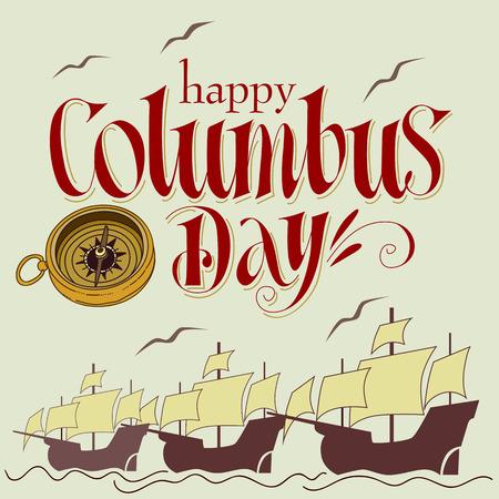 Ilustración hecha a mano del día feliz de Columbus. Foto de archivo - 83891607