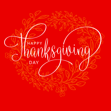 happy thanksgiving day hand letter. Handmade vector illustration