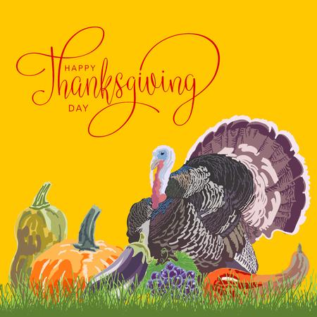 Gelukkige Thanksgiving Day Hand Brief met Pompoen en Kalkoen. Handgemaakte vectorillustratie