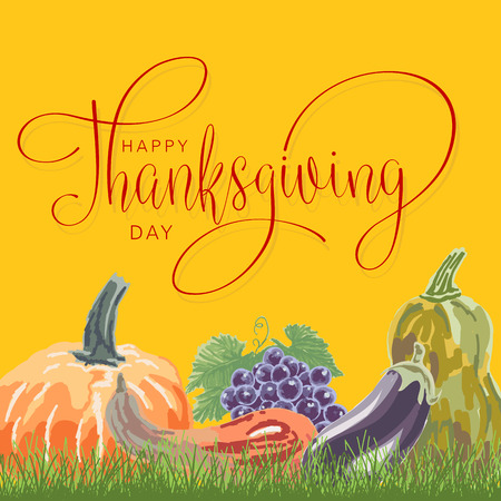 happy thanksgiving day hand letter with pumpkin. Handmade vector illustration