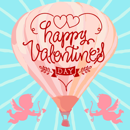 happy valentines day hand letter vector illustration