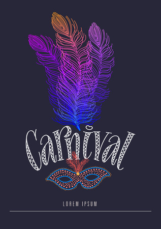 A carnival party hand letter with feather vector illustration