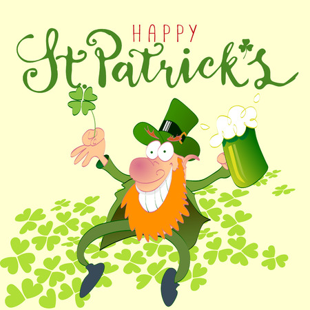 happy st. patrick's day with leprechaun handmade vector illustration 向量圖像