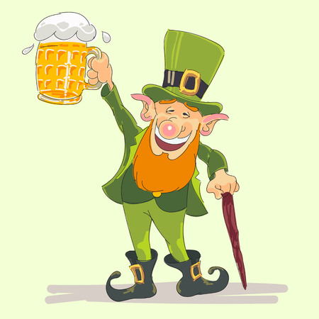 happy st patrick's day with leprechaun handmade vector illustration 向量圖像