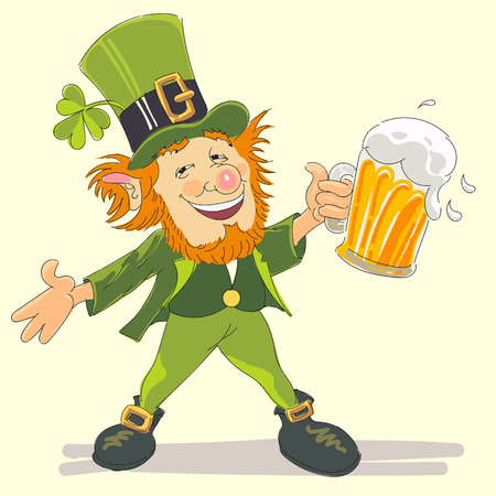 happy st. patricks day with leprechaun handmade vector illustration