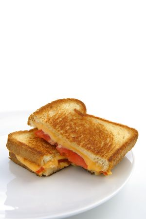 Grilled cheese and tomatoe sandwich cut in half and on a white plate and white background Banco de Imagens