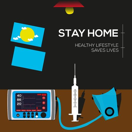 Stay home, protect your life. Vector illustration with needle, air mask, table, fan, window elements.