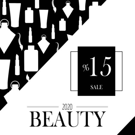 Cosmetics on black and white background. 15% advertising poster design for beauty store, blog, Magazine, offers and promotion. Vector illustration. Illustration