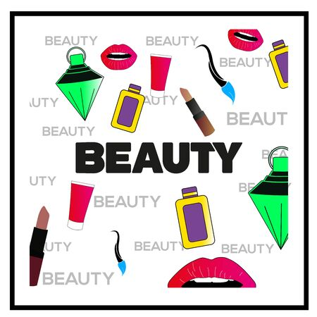 Cosmetic products on black and white background. Advertising poster design for beauty store, blog, magazine. Vector illustration.