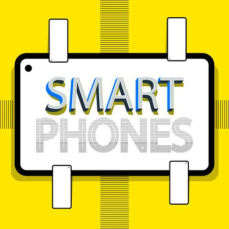 Smartphone writing. Retro style design. The yellow background and the text in the middle sited on a box. Vector illustration study. Çizim