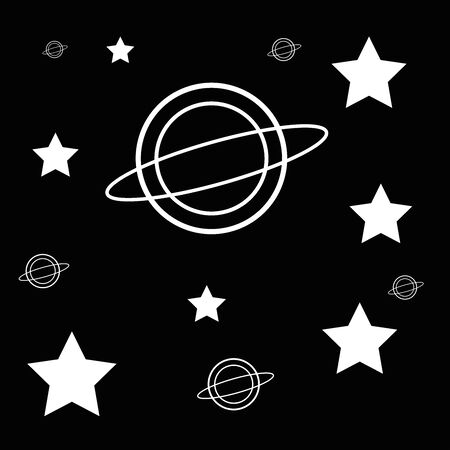 Stars and galaxy, world icon illustrations on a black background.Vector illustration. Vector Illustratie