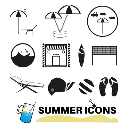 Summer Icons with White Background. Black and white icons.