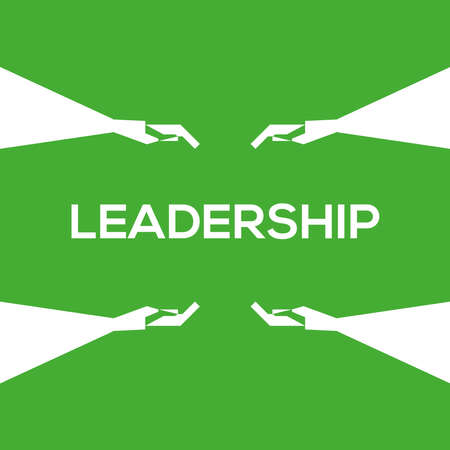 Green background, white leadership icon, and hand drawing. Vector drawing. Stock Illustratie