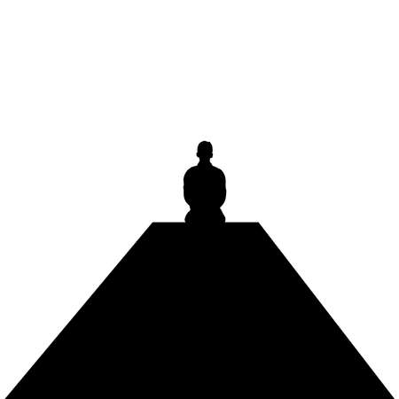 Man sitting alone. Nostalgic silhouette design.