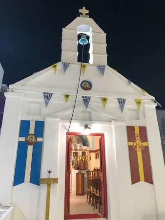 Greek houses and white church 写真素材