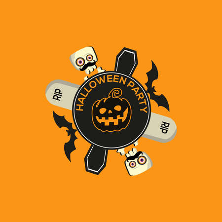 Pumpkin banner vector illustration for halloween and party 向量圖像