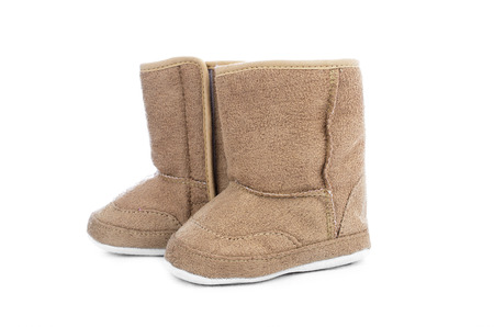 'hide out': Beige ugg boots for children