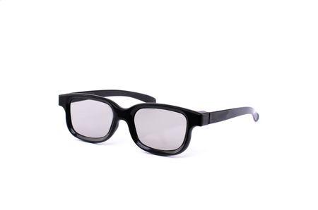 Black 3D glasses for watching movies in the cinema