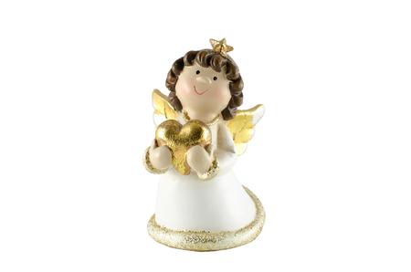 Christmas angel with heart on a white background isolation Stock Photo