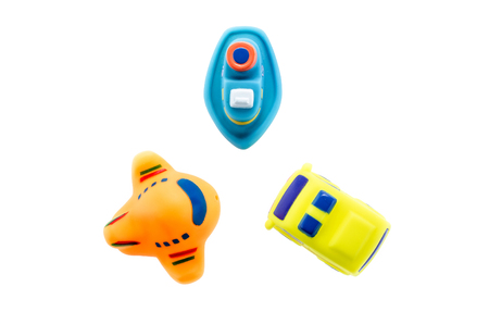 Colorful childrens toys ground water and air transport Stock Photo