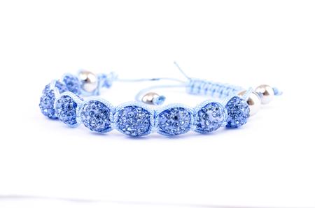 blue wristband decorated with semi-precious stone for women Stock Photo