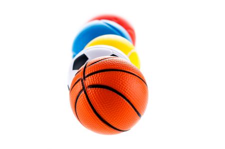Children balls in different directions in the sport