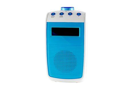 Blue battery powered bathroom radio