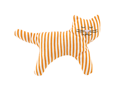 cat toy: knitted cat toy for small children on a white background
