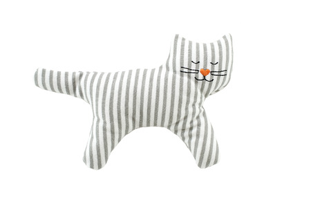 knitted cat toy for small children on a white background