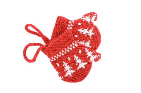 red glove pattern with snowflakes