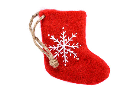 red Christmas stocking on white background Stock Photo