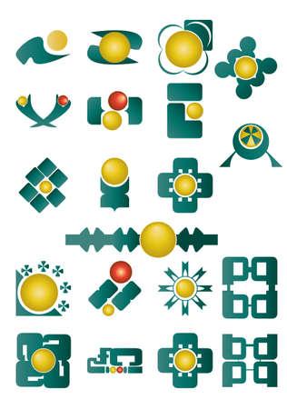 Set of green and yellow logos Vector