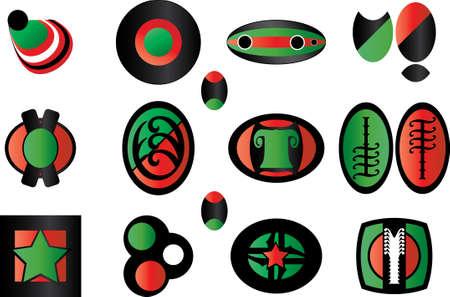 set of green-red-black logos Vector