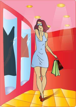 Shopping lady admiring dress  Vector