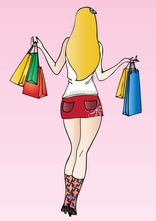 sexy blonde shopping  Vector