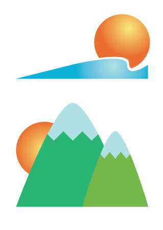 mountain view: Seaside sunset and mountain sunrise travel icon
