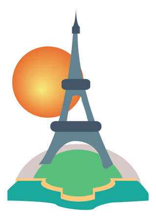 Paris Eiffel Tower tourism icon  Vector