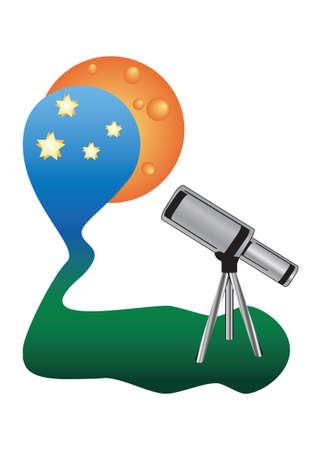 Telescope watching night sky Stock Vector - 4750250